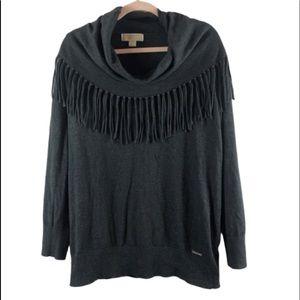 Michael Kors gray sweater XL cowl neck tassel node